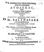 Theorematum philologicorum miscellaneorum dyodecas