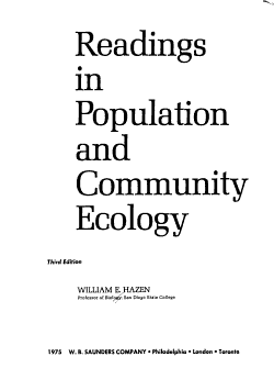 Readings in Population and Community Ecology PDF