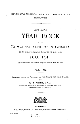 Official Year Book of the Commonwealth of Australia  No  5   1912 PDF