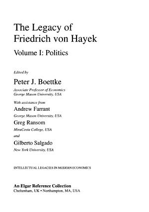 The Legacy of Friedrich Von Hayek PDF