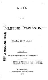 Acts of the Philippine Commission: Issues 425-949