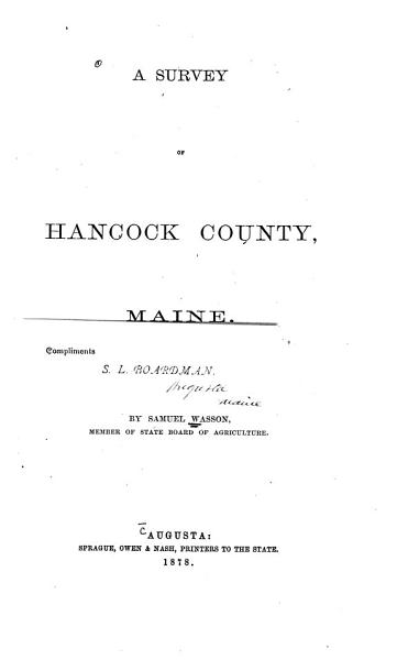 Download A Survey of Hancock County  Maine Book