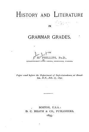 History and Literature in Grammar Grades PDF
