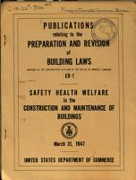 Publications Relating to the Preparation and Revision of Building Laws  CD 1   Safety  Health  Welfare  in the Construction and Maintenanace of Buildings PDF