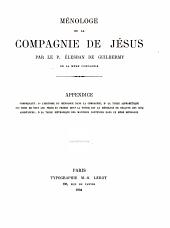 Ménologe de la Compagnie de Jésus: Volume2,Partie1