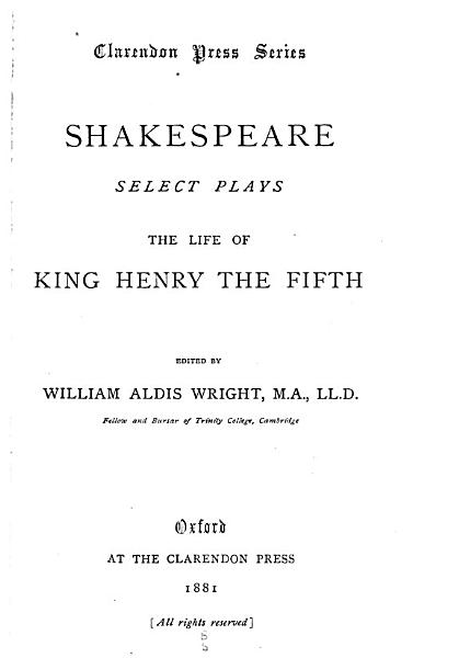 Select Plays  The life of King Henry V PDF
