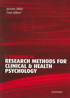 A Handbook of Research Methods for Clinical and Health Psychology PDF