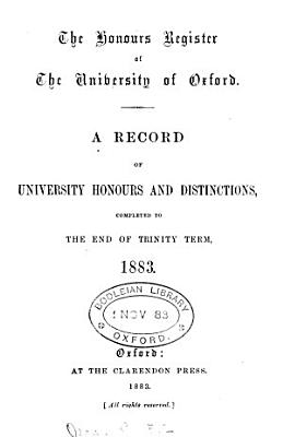 The Honours Register of the University of Oxford