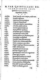 M. Fab. Quintiliani Declamationes, quae ex CCCLXXXVIII supersunt, CXLV: ex vetere exemplari restitutae ; Calpurnii Flacci excerptae X. rhetorum minorum LI.