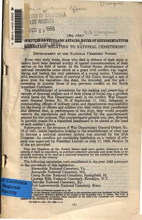 Materials Relating to National Cemeteries     PDF
