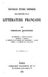 Nouvelles études critiques sur l'histoire de la littérature française