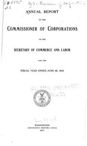 Annual Report of the Commissioner of Corporations to the Secretary of Commerce PDF