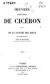 Oeuvres complètes de Cicéron: De la nature des dieux