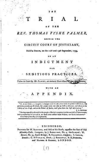 The Trial of the Rev  Thomas Fyshe Palmer PDF