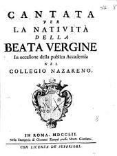 Cantata per la natività della Beata Vergine in occasione della publica Accademia nel Collegio Nazareno