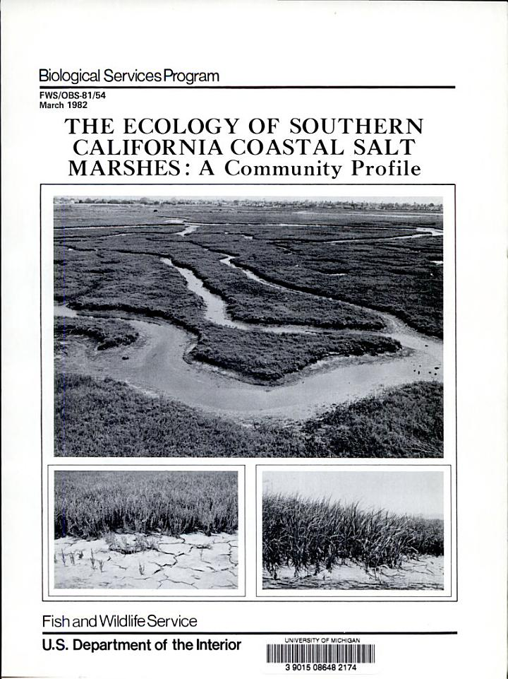 The Ecology of Southern California Coastal Salt Marshes