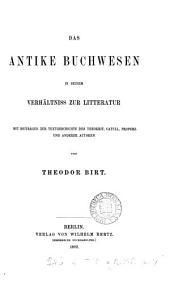 Das antike Buchwesen in seinem Verhältniss zur Litteratur