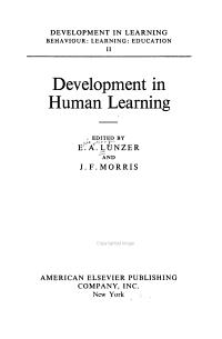 Development in Learning  Development in human learning