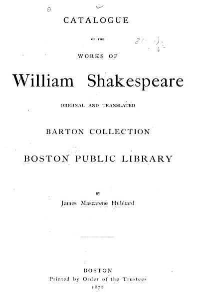 Download Catalogue of the Works of William Shakespeare  Original and Translated Book