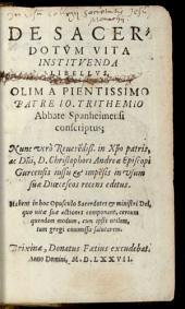 De Sacerdotum Vita Instituenda Libellus