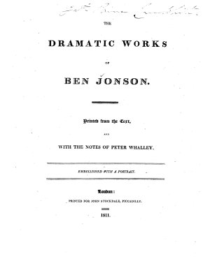 The Dramatic Works of Ben Jonson