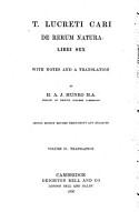 De rerum natura libri sex with no  es and a translation by H  A  J  Munro PDF