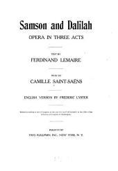 Samson and Dalilah: Opera in Three Acts