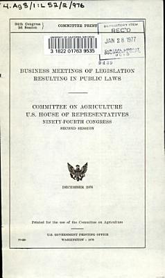 Business Meetings of Legislation Resulting in Public Laws