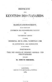 Beiträge zur Kenntniss des Cyanamids: Habil. Schrift