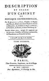 Description Et Usage D'Un Cabinet De Physique Expérimentale: Volume1