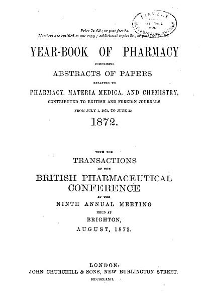Download Yearbook of Pharmacy Book
