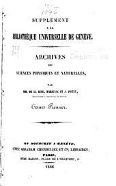 Archives des sciences physiques et naturelles: Volumes1à3