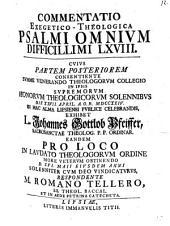 Commentatio exeg. theol. Psalmi omnium difficillimi, LXVIII.: Pars posterior