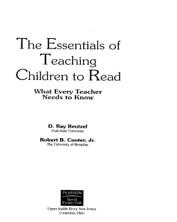 The Essentials of Teaching Children to Read Book