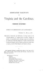 Memoranda of Instructions and Information to Foreign Agents of the Associated Railways of Virginia and the Carolinas