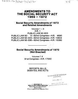 Amendments to the Social Security Act  1969 1972  Social Security Amendments of 1972 and related amendments