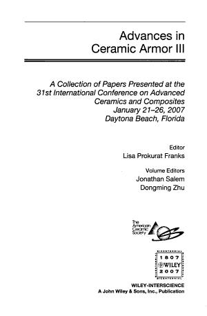 Advances in Ceramic Armor III PDF