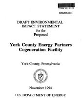 York County Energy Partners Cogeneration Facility, North Cordorous Township: Environmental Impact Statement