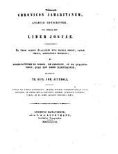 Chronicon Samaritanum: Arabice conscriptum, cui titulus est Liber Josuae