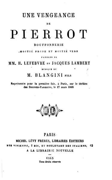 Download Une Vengeance de Pierrot bouffonnerie  in eleven scenes   moiti   prose et moiti   vers  etc Book