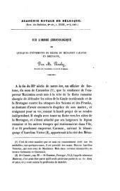 Sur l'ordre chronologique de quelques événements du règne du ménapien carause en Bretagne