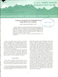 Understory Production Not Predictable From Aspen Basal Area Or Density Book PDF
