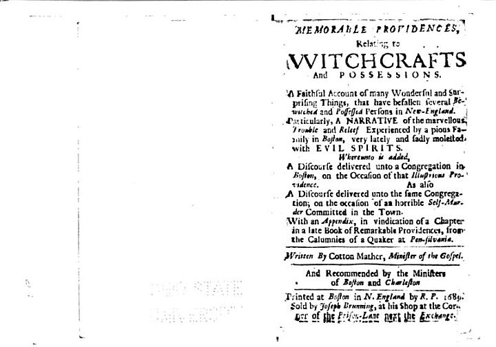 Memorable Providences, Relating to Witchcrafts and Possessions