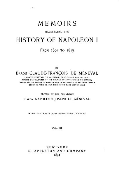 Download Memoirs Illustrating the History of Napoleon I from 1802 to 1815 Book