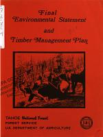 Tahoe National Forest  N F    Timber Management Plan PDF