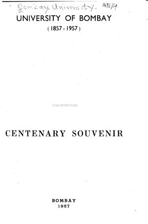 University of Bombay  1857 1957  PDF