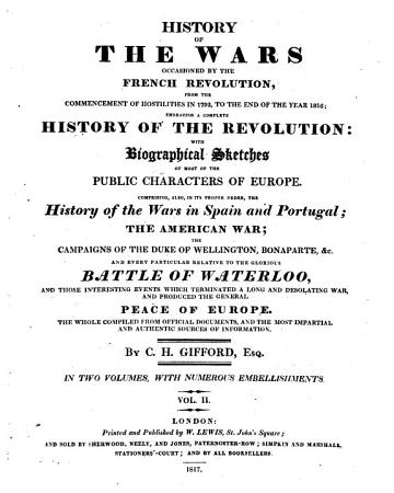 History of the wars occasioned by the French Revolution from     1792 to    1816     With numerous embellishments PDF
