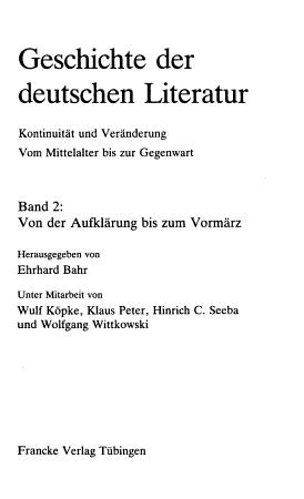 Geschichte der deutschen Literatur  Von der Aufkl  rung bis zum Vorm  rz PDF