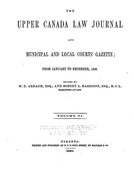 Download The Upper Canada Law Journal and Municipal and Local Courts  Gazette Book