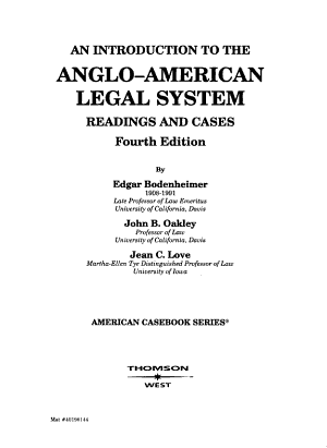 An Introduction to the Anglo American Legal System